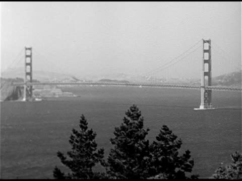 City WS Golden Gate Bridge spanning bay WS Large Merchant ship in bay area WS Port buildings w/ traffic FG Line of cars parked in front of...