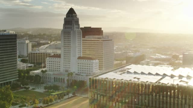 la city hall and courthouses around grand park at dawn - aerial - courthouse stock videos & royalty-free footage