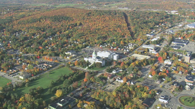 aerial city hall and new england landscape / augusta, maine, united states - augusta maine stock videos & royalty-free footage