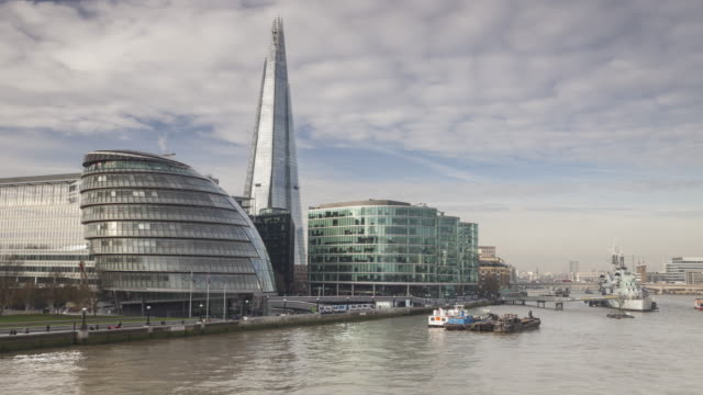 city hall and the shard in london, england. - town hall stock videos & royalty-free footage