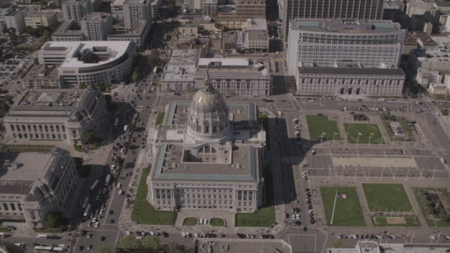 AERIAL City Hall building and Civic Center / San Francisco, California, United States