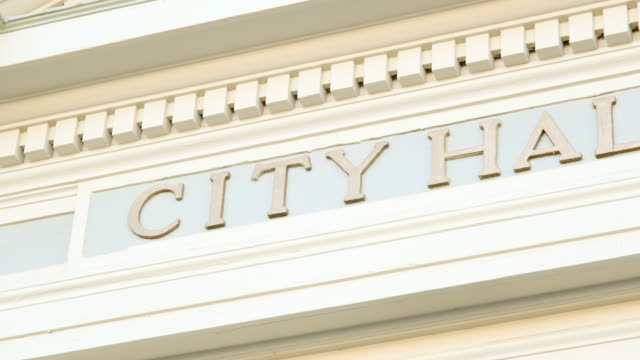 city hall entrance sign - entrance sign stock videos & royalty-free footage