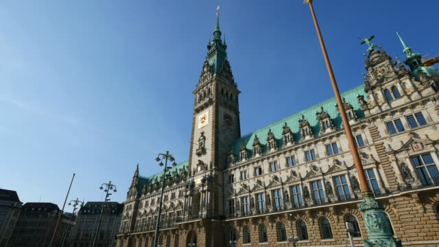 city hall, hamburg, germany, europe - town hall government building stock videos & royalty-free footage