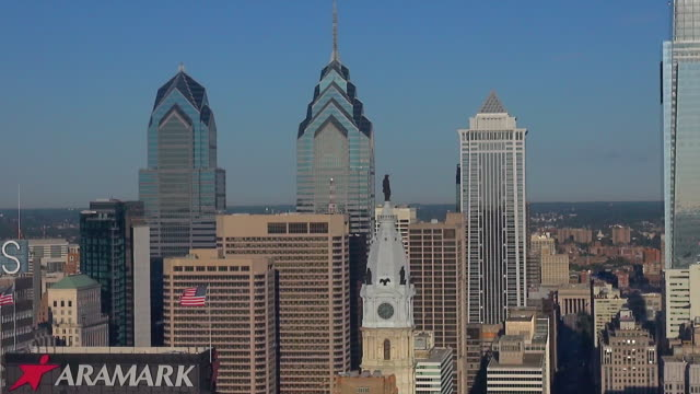 city hall, one liberty place, and two liberty place are among the skyscrapers that dominate philadelphia's center city. - center city philadelphia stock videos and b-roll footage