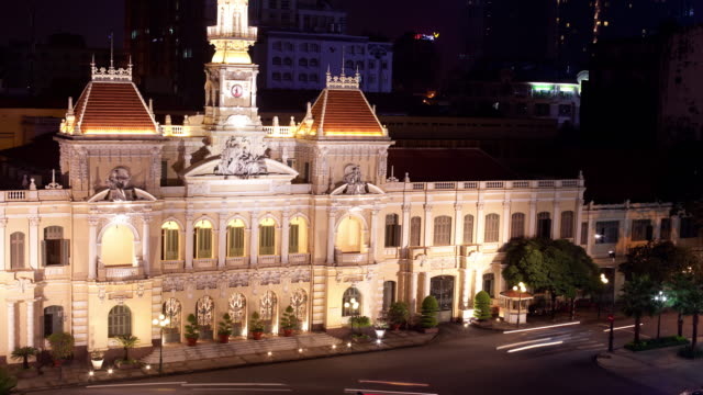 municipio saigon 4 k - vietnam meridionale video stock e b–roll