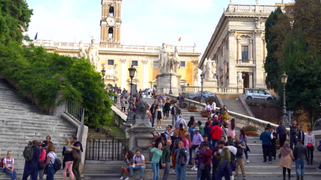 city hall with stairs in rome , time lapse - treppe stock videos and b-roll footage