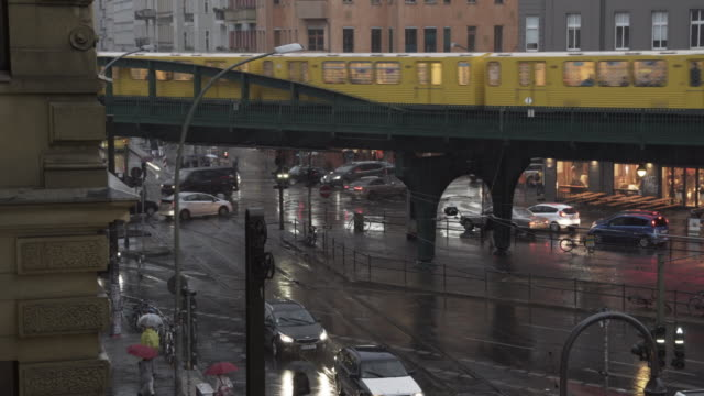 City in heavy Rain with City Railway in Berlin
