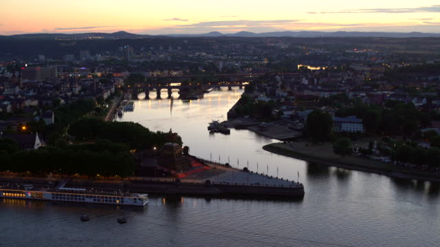 city koblenz with deutsches eck - river rhine stock videos & royalty-free footage