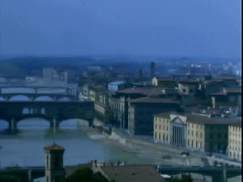 vidéos et rushes de montage city landscape showing landmarks of florence, and the statue of david in the piazzale michelangelo / florence, italy - florence toscane