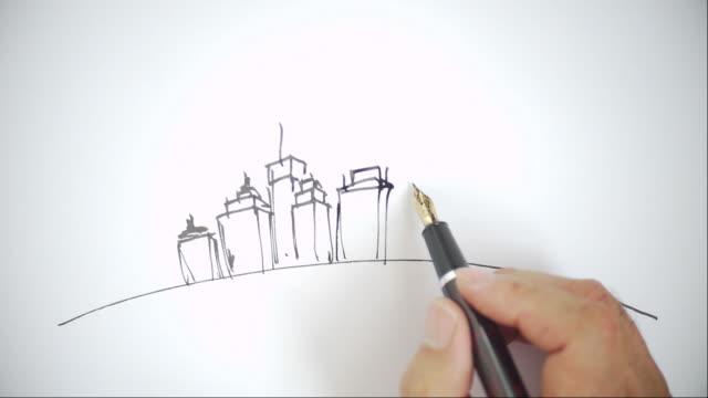 City landscape sketches,Hand-painted