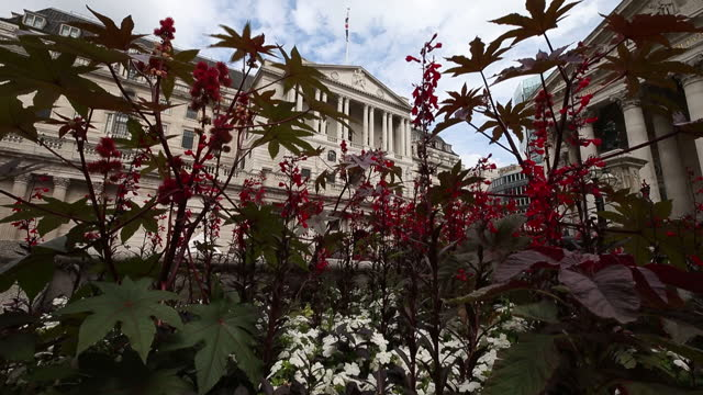 city life in area of bank of england in city of london, london, england, u.k., on thursday, august 5, 2021. the bank of england may move a step... - double decker bus stock videos & royalty-free footage