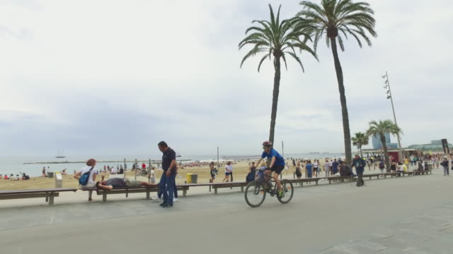 city life in barceloneta beach, barcelona, spain - barcelona stock-videos und b-roll-filmmaterial