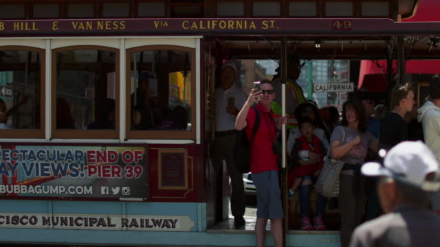 city life in chinatown of san francisco, ca - cable car stock videos & royalty-free footage