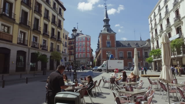 city life in madrid, spain - spain stock videos & royalty-free footage