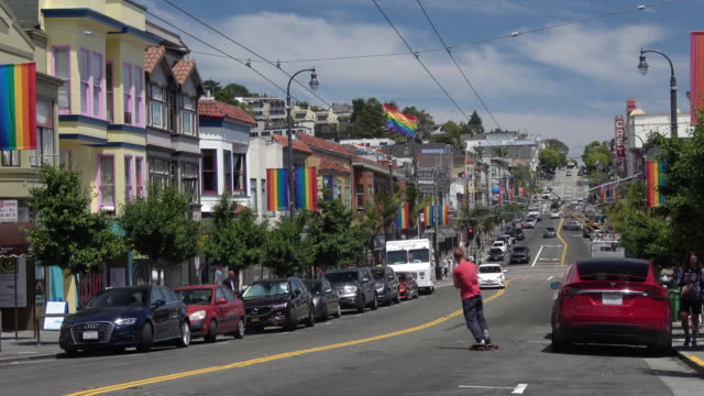 city life in san francisco castro district - san francisco california stock videos & royalty-free footage