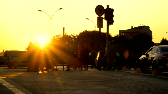 city life of timelapse at sunset - large group of people stock videos & royalty-free footage