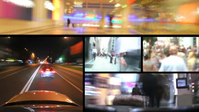 hd loop montage: city life - film montage stock videos & royalty-free footage