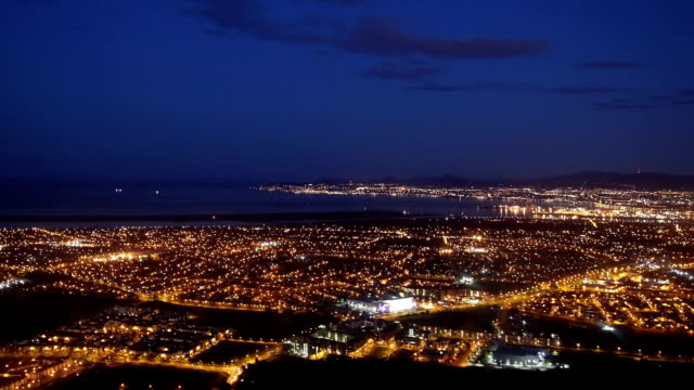 city lights at night from air - ireland stock videos and b-roll footage