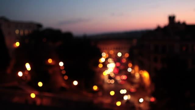 city lights at night in rome - geschichtlich stock-videos und b-roll-filmmaterial