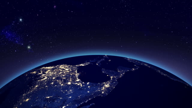 City lights in North America from space
