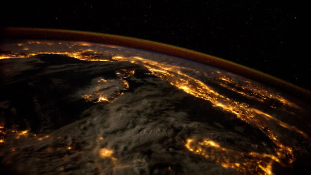 city lights of europe: planet earth at night from iss - viewpoint stock videos & royalty-free footage