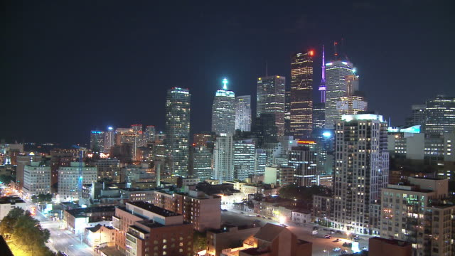 hd time-lapse: city lights of toronto at night - toronto stock videos and b-roll footage