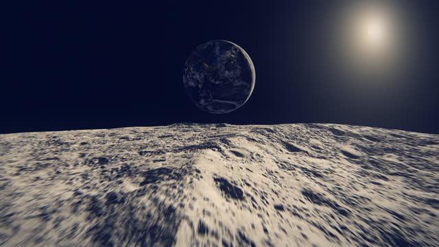 stockvideo's en b-roll-footage met de lichten van de stad die van maan worden gezien (de mening van azië) - maan