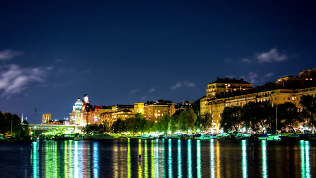 city lights time lapse - stockholm stock videos & royalty-free footage