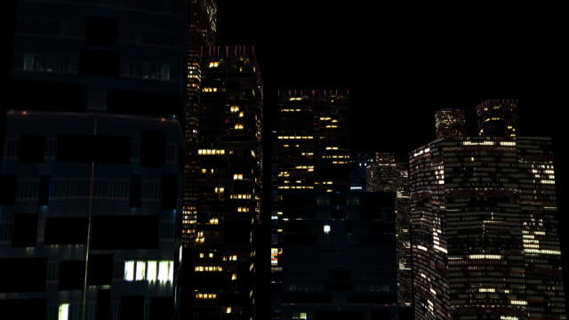 hd: city lights - office block exterior stock videos & royalty-free footage