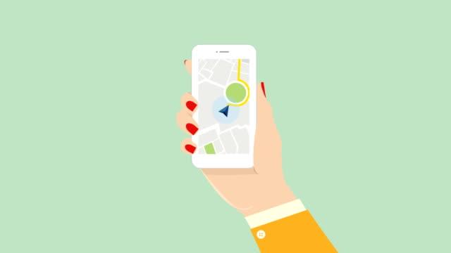 vidéos et rushes de main de femme de carte de ville, carte électronique sur votre stock de téléphone. luma mat - illustration