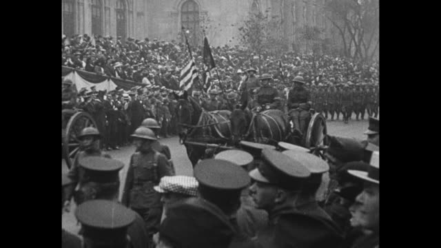 ny city mayor john hylan talking to industrialist henry ford on his left ny governor al smith standing to their right / soldiers on horses riding... - john pershing stock videos & royalty-free footage