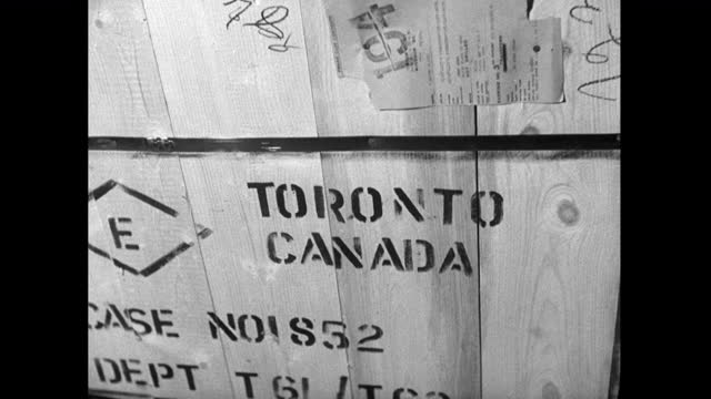 city names stencilled onto wooden export crates; 1952 - box container stock videos & royalty-free footage
