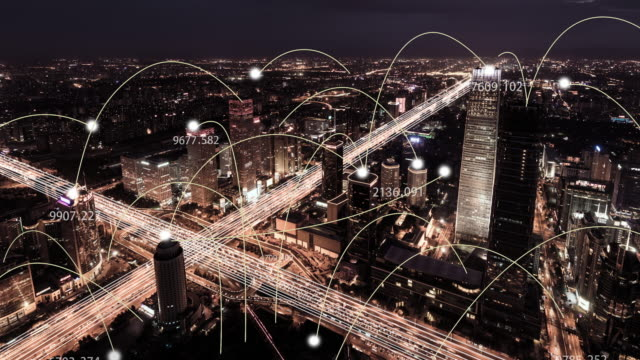t/l ws td city network of beijing skyline, from day to night - global communications video stock e b–roll