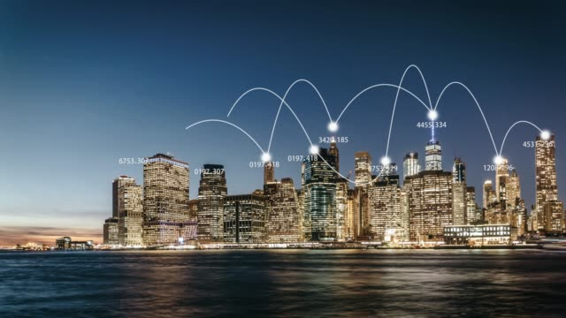 t/l city network of manhattan skyline / nyc - 5g stock videos & royalty-free footage
