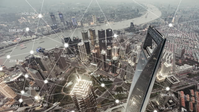 t/l city network of shanghai, day to dusk transition - lujiazui stock videos & royalty-free footage