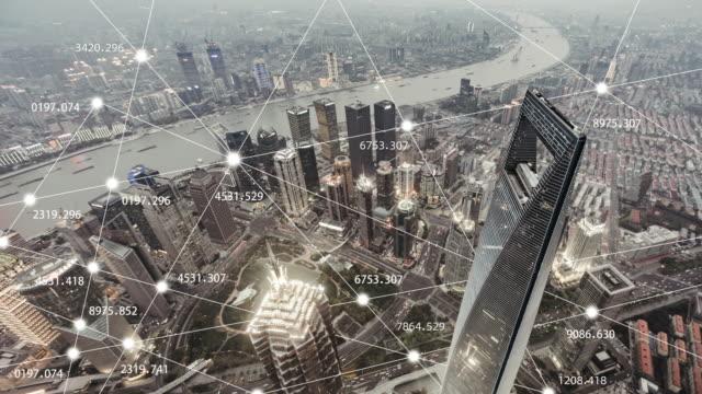 vídeos de stock e filmes b-roll de t/l city network of shanghai, day to dusk transition - evolução