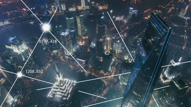 vidéos et rushes de t/l ha tu city network of shanghai skyline at night / shanghai, chine - évolution de l'espèce