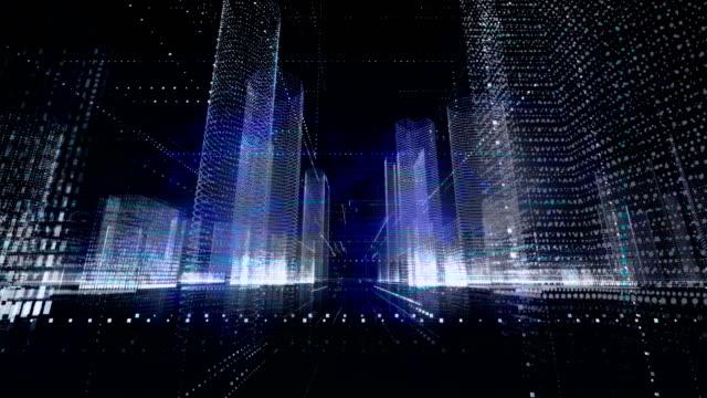 vídeos de stock, filmes e b-roll de tecnologia de rede cidade, conceito de realidade virtual - velocidade