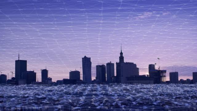 都市ネットワーキング。都市パノラマのスレッド接続 - 地球村点の映像素材/bロール