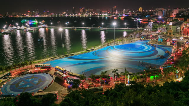 city night pier - pattaya stock videos & royalty-free footage