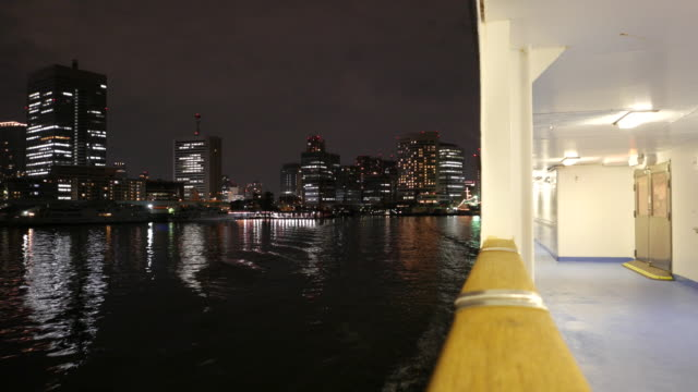 city night view from passenger ship, japan - cruise stock videos and b-roll footage