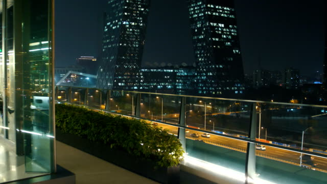 city night view on rooftop - dusk stock videos & royalty-free footage
