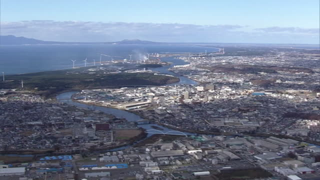 aerial, city of akita, japan - 秋田県点の映像素材/bロール