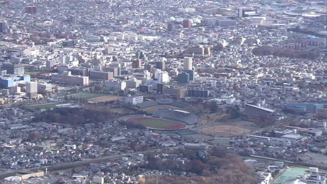 aerial, city of akita, japan - baseball diamond stock videos and b-roll footage