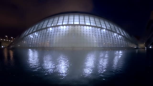 city of arts and science valencia spain night time zoom - art gallery stock videos and b-roll footage