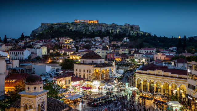 city of athens and acropolis - day to night - athens greece stock videos & royalty-free footage