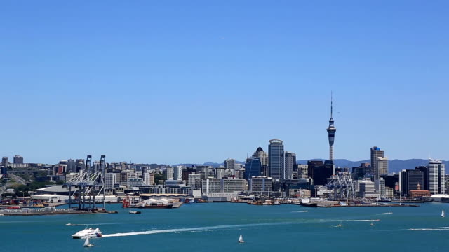 city of auckland view from devonport, new zealand - harbour stock videos & royalty-free footage