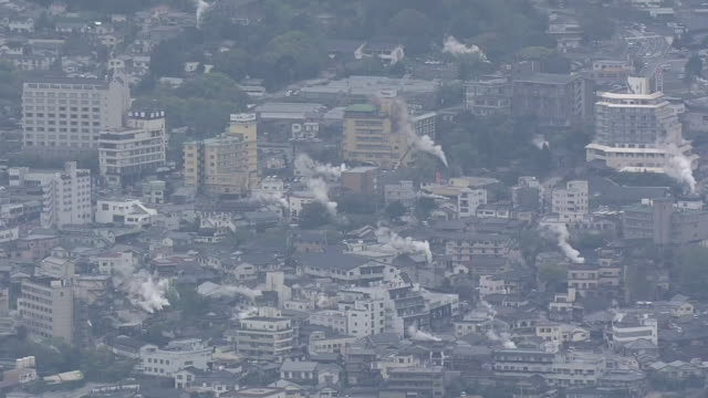 aerial, city of beppu, oita, japan - oita city stock videos & royalty-free footage
