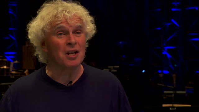 "city of birmingham symphony orchestra conductor, sir simon rattle, saying ""it's not ridiculous to say the future of music is at stake"" due to... - bbc symphony orchestra stock videos & royalty-free footage"