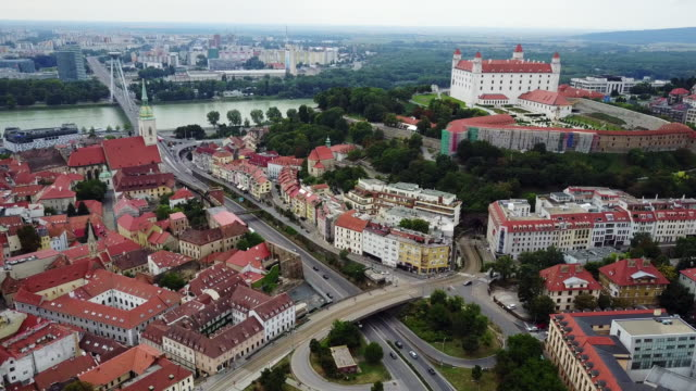 city of bratislava, downtown and old town - slovakia stock videos & royalty-free footage